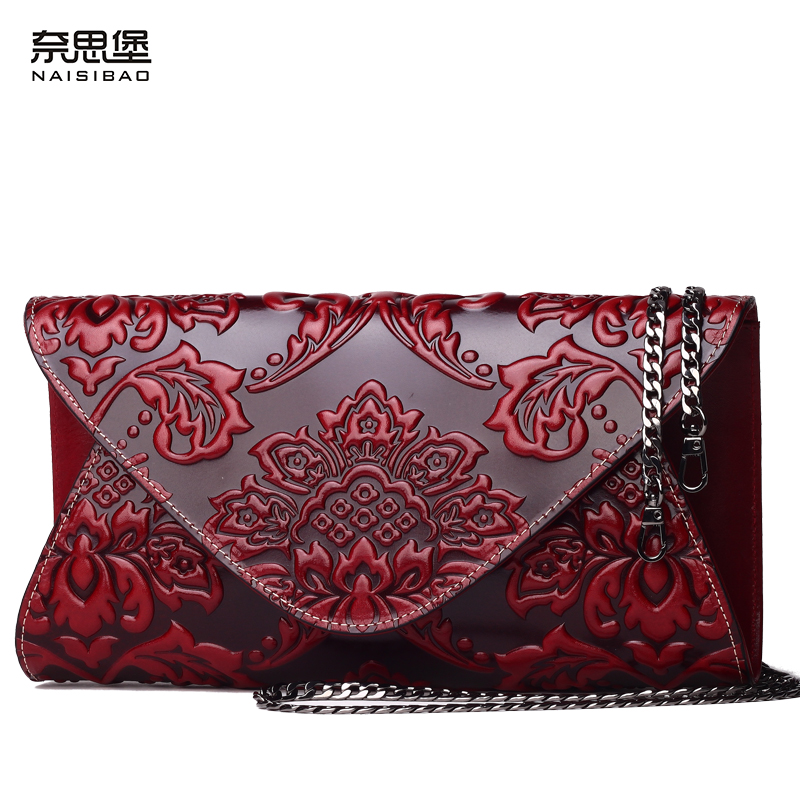 NAISIBAO women messenger bags luxury clutch bags designer genuine leather handbag lady vintage chain women shoulder bag lacattura luxury handbag chain shoulder bags small clutch designer women leather crossbody bag girls messenger retro saddle bag