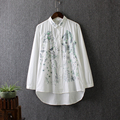 Fresh flower embroidery casual loose turn-down collar long-sleeve 100% cotton white shirt female spring basic shirt