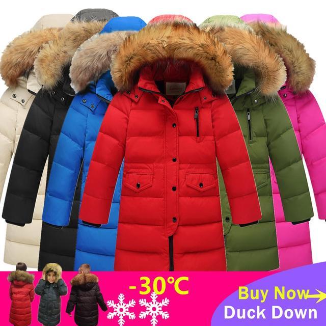 Утепленные теплые пуховики для девочек; Детские пуховые пальто с меховым воротником и капюшоном; Ветрозащитная куртка для девочек; Русская холодная зима