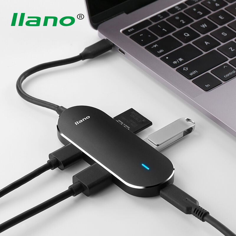 купить llano 5 in 1 USB Type C to HDMI USB3.0 HUB Converter Type-C Card Reader Adapter Cable USB-C PD Charging Port for PC Phone Tablet