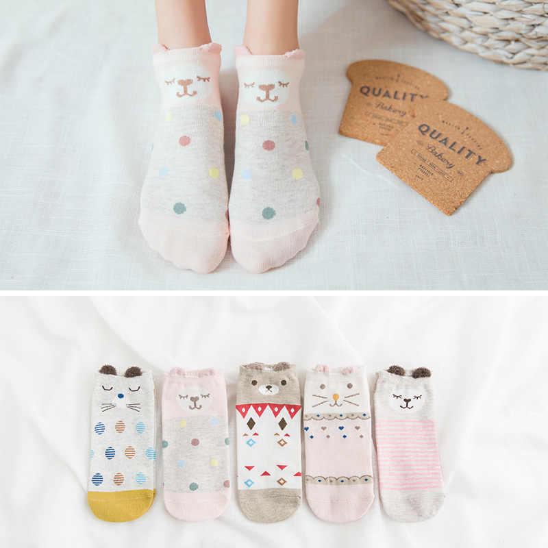 5Pairs Neue Arrivl Frauen Baumwolle Socken Rosa Nette Katze Ankle Socken Kurze Frauen Socken Casual Tier Ohr Rot Herz gril Socken 35-40