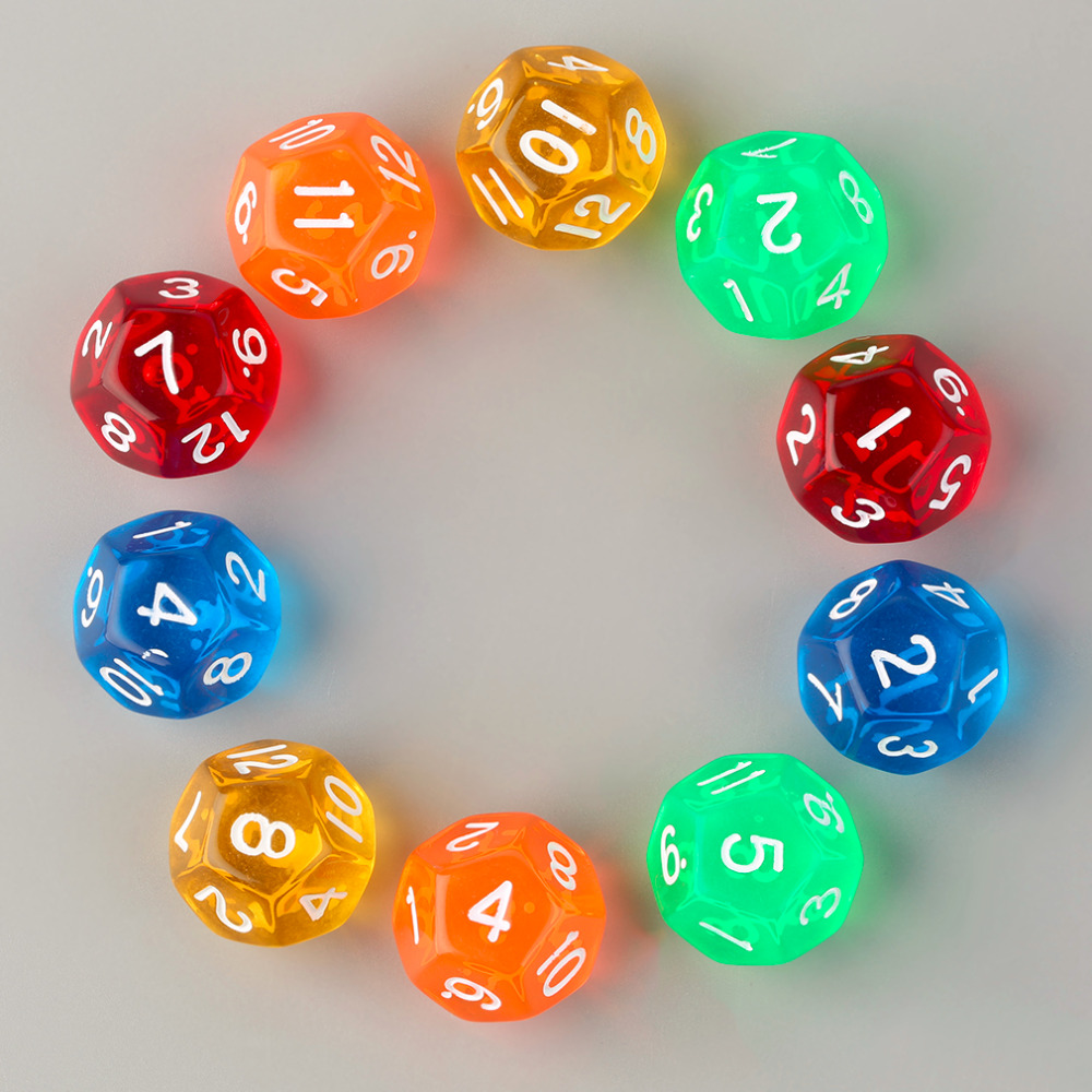 10pcs/Set Multicolor Transparent 12-Sided Role Playing Game Dices D12 Hot! Drop Shipping image