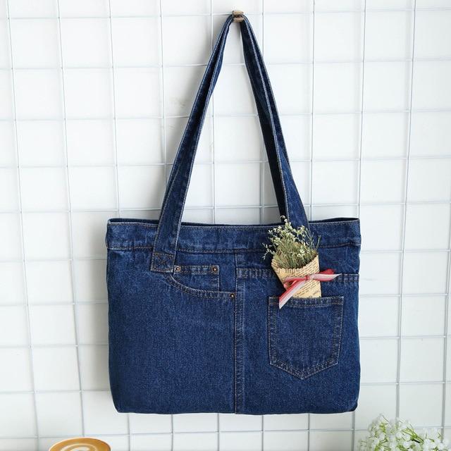 Casual Fashion Zipper Design Black Blue Light Denim Pocket Vintage Women Tote Bags Lady Handbags