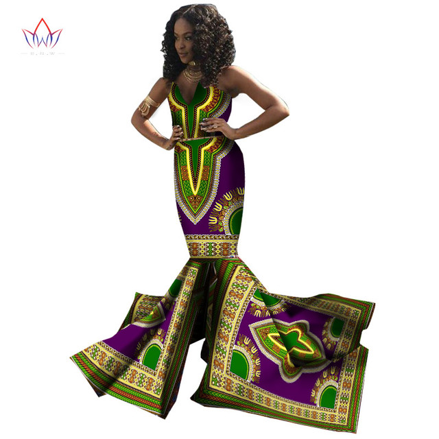 Plus Size Women Traditional African Dresses Brand Custom Clothing Africa Wax Dashiki Slim Cut Y Dress