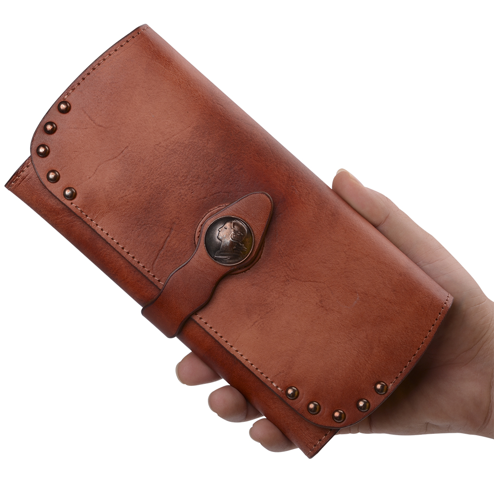 Genuine Leather Women Wallets 100 Cowhide Wallet Handmade Vintage Style Wallets Real Leather Short Purse Wholesale