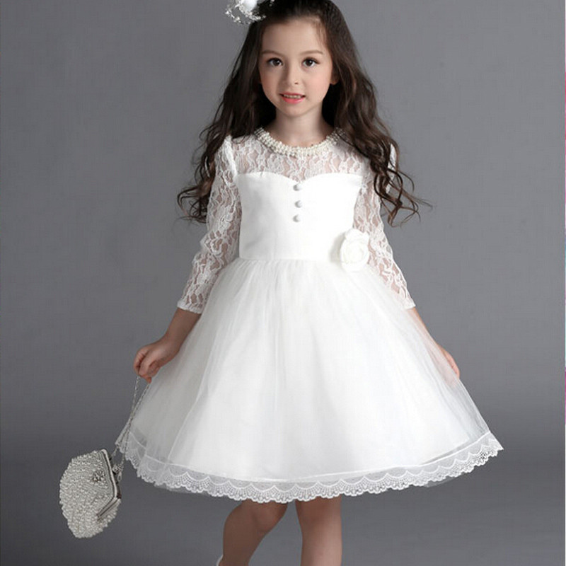 2016 new lace white flower girl dresses for weddings beaded 34 2016 new lace white flower girl dresses for weddings beaded 34 sleeves cute kids frock design first communion dresses for girls in flower girl dresses from mightylinksfo