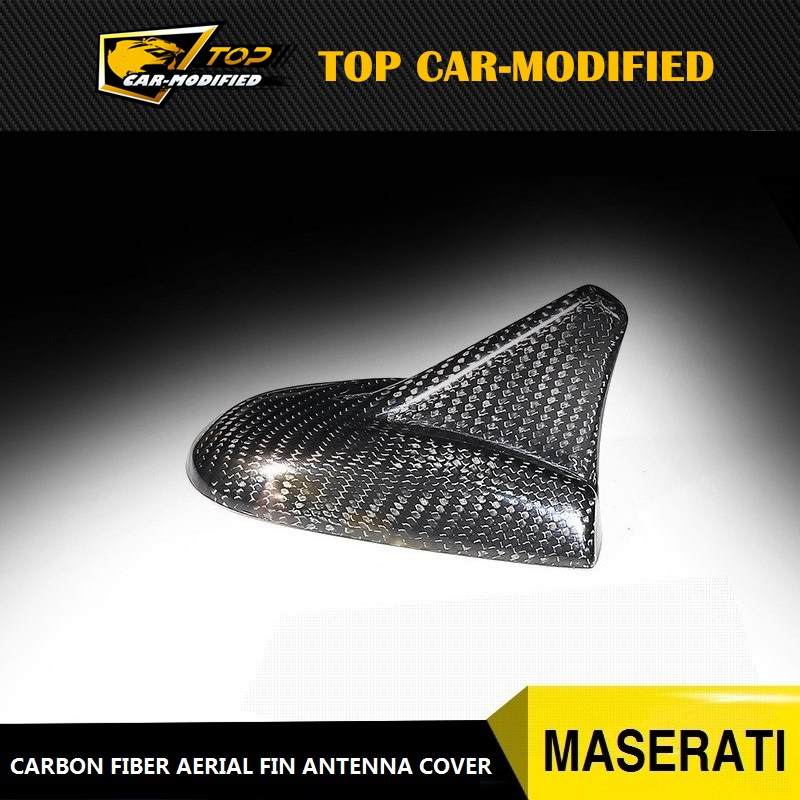 Free shipping 100% REAL CARBON FIBER ROOF SHARK FIN ANTENNA COVER for Maserati Quattroporte Ghibli high quality real carbon fiber top mounted roof shark fin decorative antenna cover aerial
