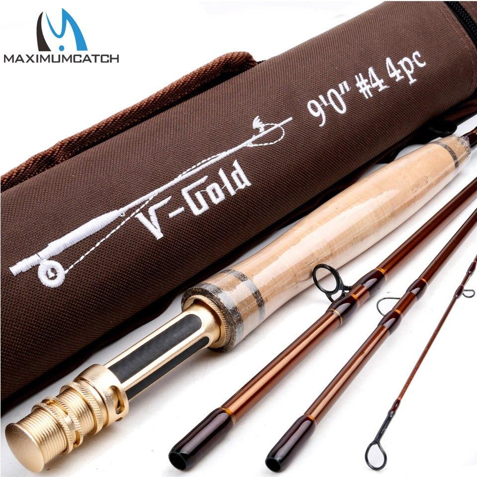 Maximumcatch V-Gold 9044 Fly Fishing Rod 40T SK Carbon Fiber 9FT #4 4Pcs Fly Rod With a Triangle Cordura Rod Tube
