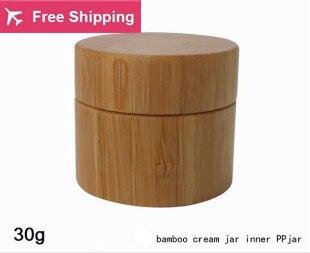 Free shipping high quality 30g bamboo cream jar inner PP body care cream jar,eye cream box,bamboo small packing bottle