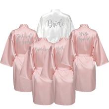 YUXINBRIDAL Rose Blush Gown Satin Silk Bride Robe Wedding Bridesmaid Dressing White Robes New