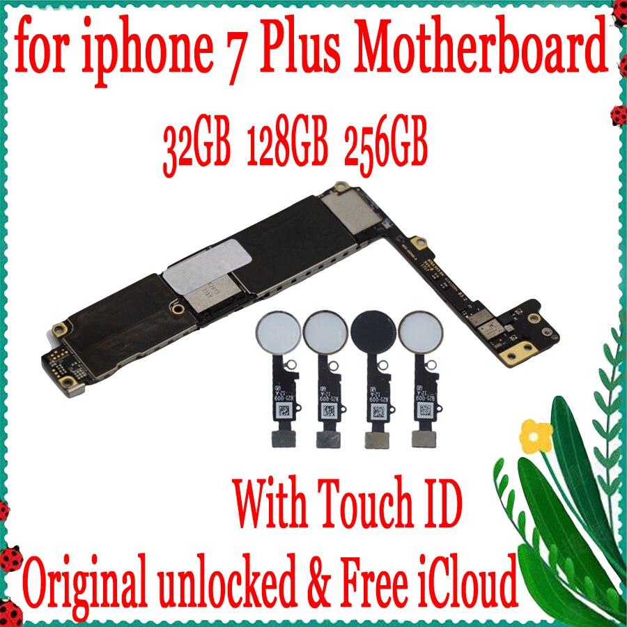 Noir blanc or rose pour iphone 7 plus carte mère originale déverrouillée carte mère avec/sans ID tactile