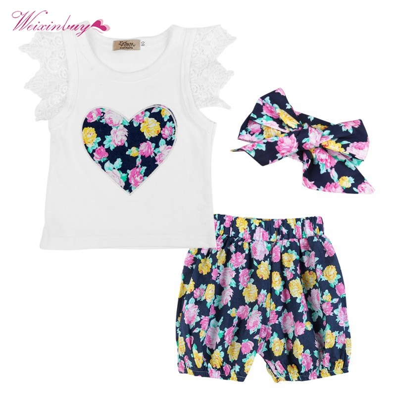 3PCS Summer Kids Baby Girls Floral Outfits Clothes T-shirt Tops+Shorts + Hats Clothing Set baby kids baseball season clothes baby girls love baseball clothing girls summer boutique baseball outfits with accessories