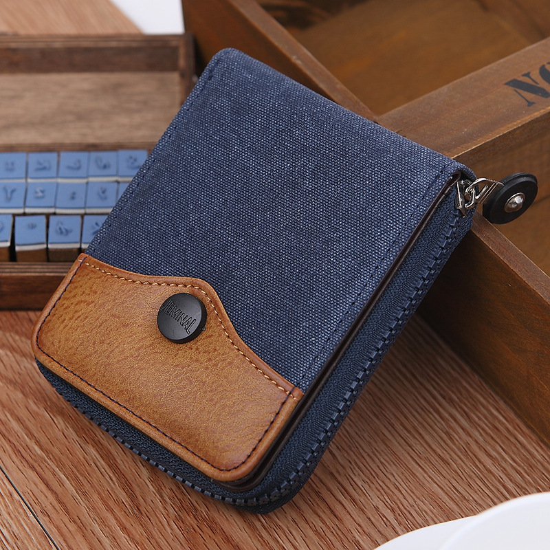 High Quality Cowboy Canvas Men Wallet Large Capacity Man Short Wallets Vintage Purses with Coin Pocket Zipper Coin Purse high quality wallet pu fashion design large capacity men purses card holder coin pocket for man