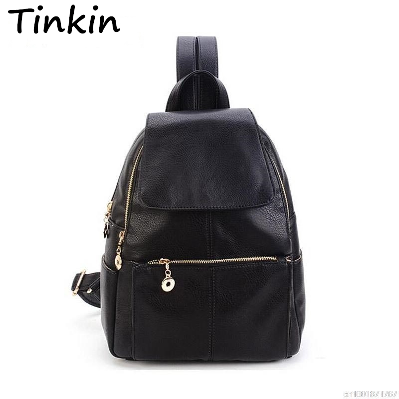 Tinkin fashion student school bag korean college backpack girl 39 s casual leather women bag Korean style fashion girl bag