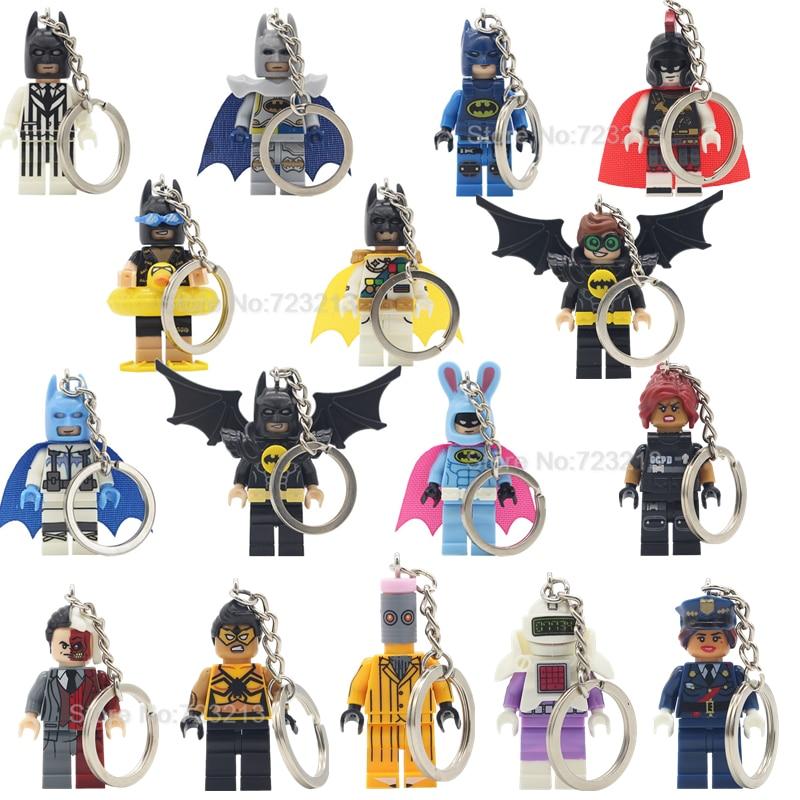 Single Sale DC Batman Figure Keychain Super Hero Tarantula Barbara Gordon Robin Two-Face Calculator Building Blocks Set Toys