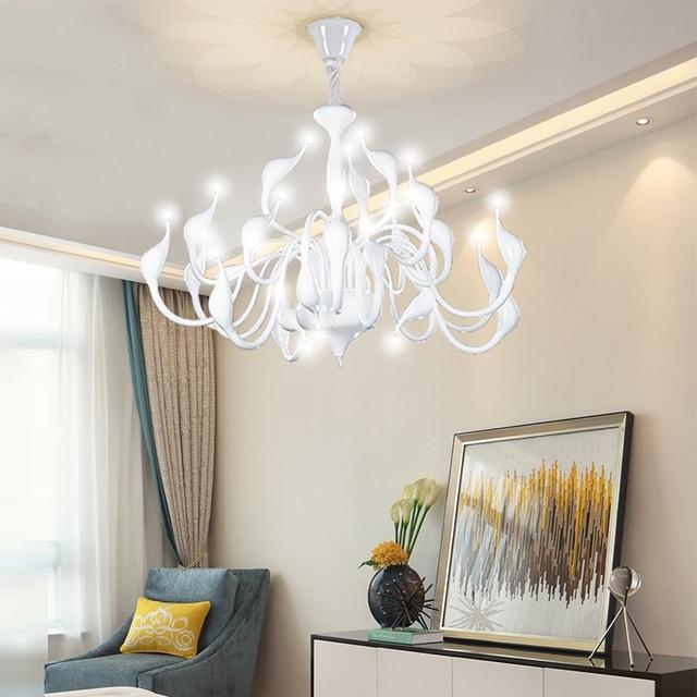 Nordic Weiss Silber Led Schwan Lampe Moderne Kronleuchter Beleuchtung