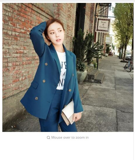 2017 autumn Fashion Korean Simple Double Breasted Two Piece Woman all match lady temperament pure color female suit