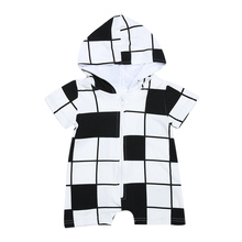 Unisex Baby Boys Girls Clothing White Black Grids Short Sleeve Zipper Hooded Romper Summer Cotton Baby Romper for 0-24M