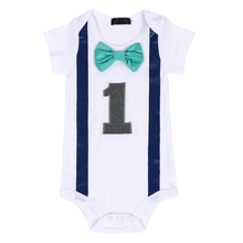 Cute Unisex Baby Clothes for 1st Birthday Party Photo Shoot Boy Romper Cake Smash Outfit Bowknot Girls Bodysuit