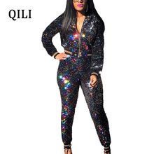 QILI Women Diamonds Rhinestone Jumpsuits Autumn Winter Long Sleeve Zipper Ope Shirt 2 Piece Set Elegant New