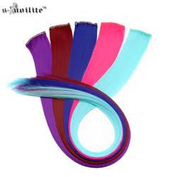 SNOILITE 2 шт./лот длинные прямые для женщин синтетический зажим в наращивание волос шиньон фиолетовый розовый красочные косплэй