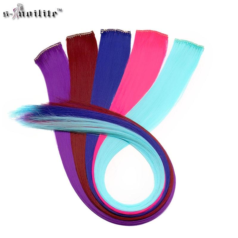 SNOILITE 2pcs / lot Довгий Прямий Жінок Синтетичний Кліп у Нарощування Волосся Перуха фіолетовий рожевий підннявся Барвистий Розширення