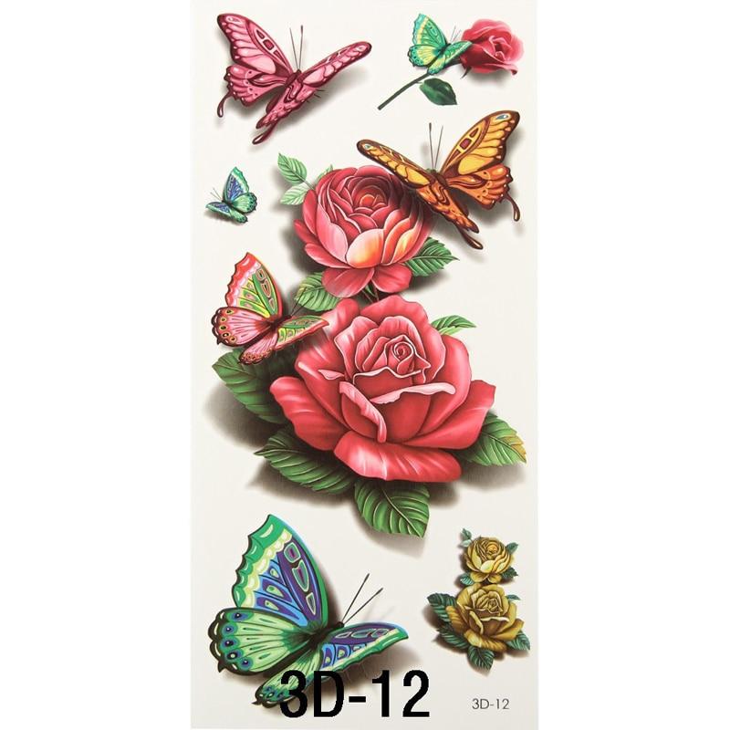8pcs Vintage Rose 3d Temporary Tattoos Body Art Flash Tattoo