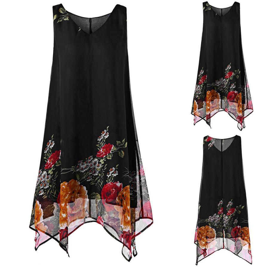 KANCOOLD Dress Women Plus Size Floral Print Chiffon Dress Fashion Sleeveless Irregular Hem Mini Dress Women 2018jul20