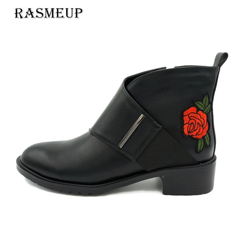 RASMEUP dédouanement femmes broderie fleur Chelsea bottes en cuir mode Zipper 2018 hiver automne femmes cheville Martin chaussures