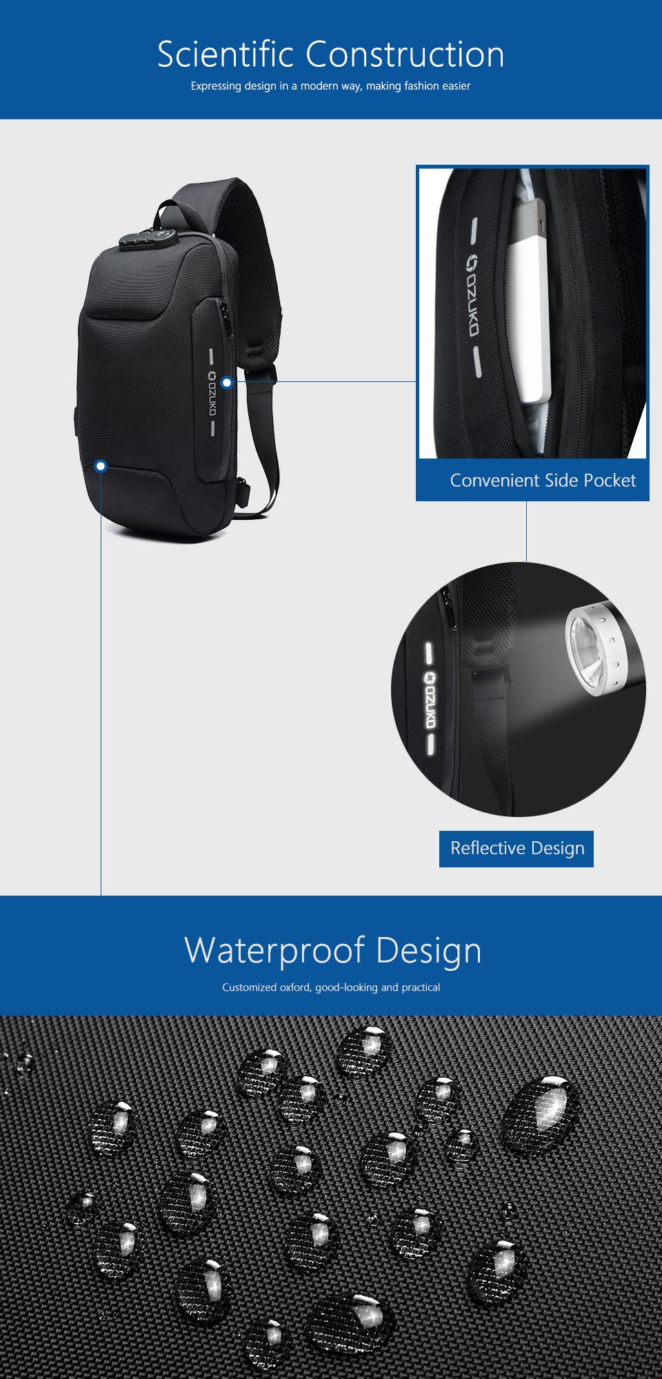 OZUKO 2019 New Multifunction Crossbody Bag for Men Anti-theft Shoulder Messenger Bags Male Waterproof Short Trip Chest Bag Pack 5