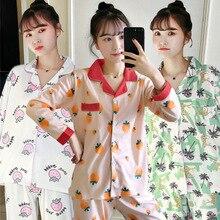 womens pajamas sets Female cute Strawberry printed Pyjama Set Sleepwear spring Autumn Loungewear nightwear pijama mujer pink
