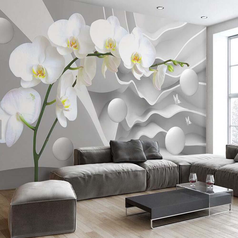 mural flower living paper abstract circle murals ball butterfly