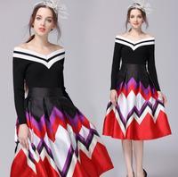 2018 summer new European station high end women's pettiskirt high waist geometric print fashion temperament Laptop skirt