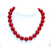 Qingmos Huge 18 19MM high quality perfect Round GENUINE NATURAL Red Coral 18 Necklace nec5499 Wholesale/retail Free shipping