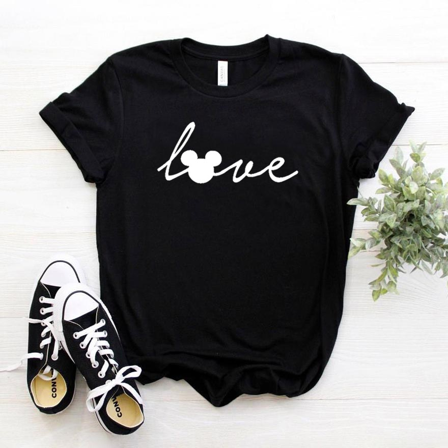 Love Mouse Print Women Tshirt Cotton Casual Funny T Shirt For Lady Girl Top Tee Hipster Drop Ship HH-498