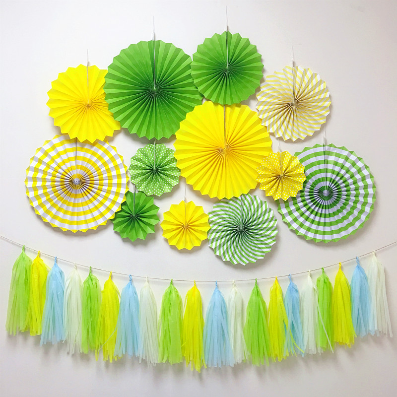 Green Yellow Galaxy Birthday Banner Party Decoration Backdrop