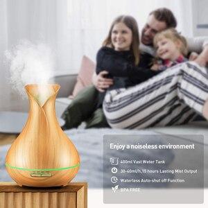 Image 4 - Dekaxi elétrica 400ml umidificador de ar ultra aroma difusor do óleo essencial com grão de madeira 7 mudando luzes led para o quarto