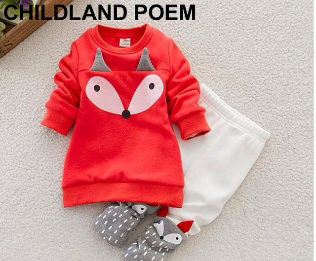 2016 primavera Outono novo bebê conjuntos de roupa da menina do bebê dos miúdos crianças desenhos animados da raposa vermelha t-shirt + calças 2 pçs/set meninos roupa do bebê set