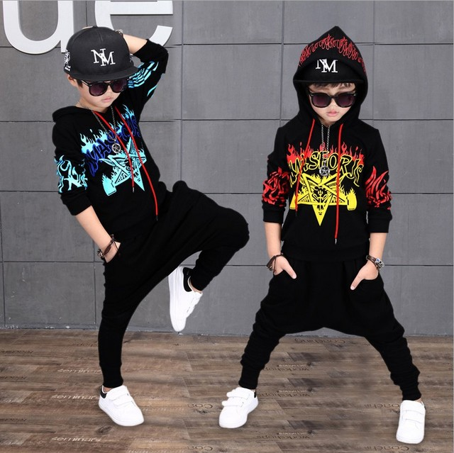 2018 Autumn New Boys Hip Hop Clothing Set Childrens Printing Sportwear Kids Hooded Sweater