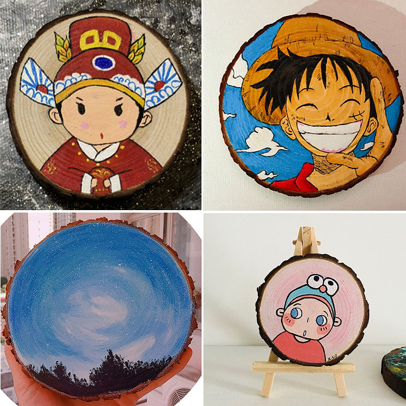 3-7cm 5~10pieces Nature Pine Wood Chip Polished Base Handmake Craft With TreeBark Log Discs DIY Crafts Party Painting Decoration