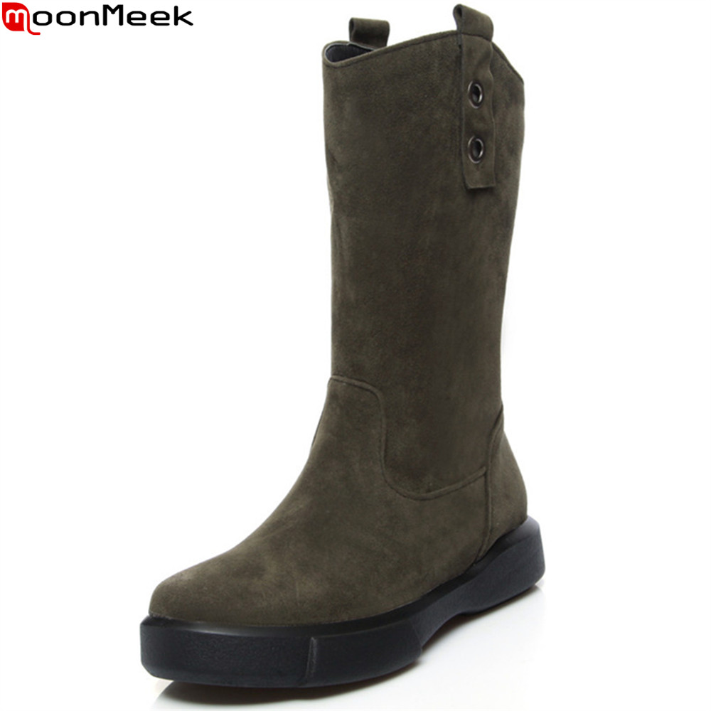MoonMeek fashion autumn winter women boots black apricot Army green ladies boots round toe flat with mid calf boots big size