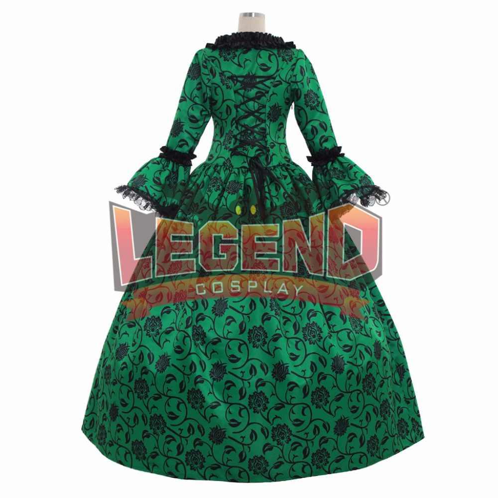 Ренессанс средневековое карнавальное платье Готический викторианский Маскарад длинное платье Rococo зеленое платье