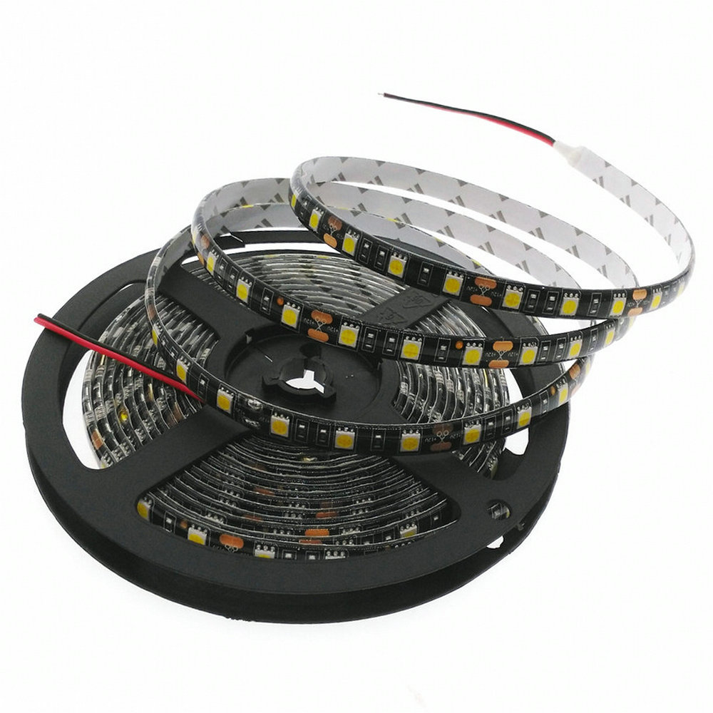 LED Strip 5050 Black PCB DC 12V Flexibel LED-lampa 60 LED / m 5m / lot RGB / vit / varm vit / röd / grön / blå 5050 LED Strip