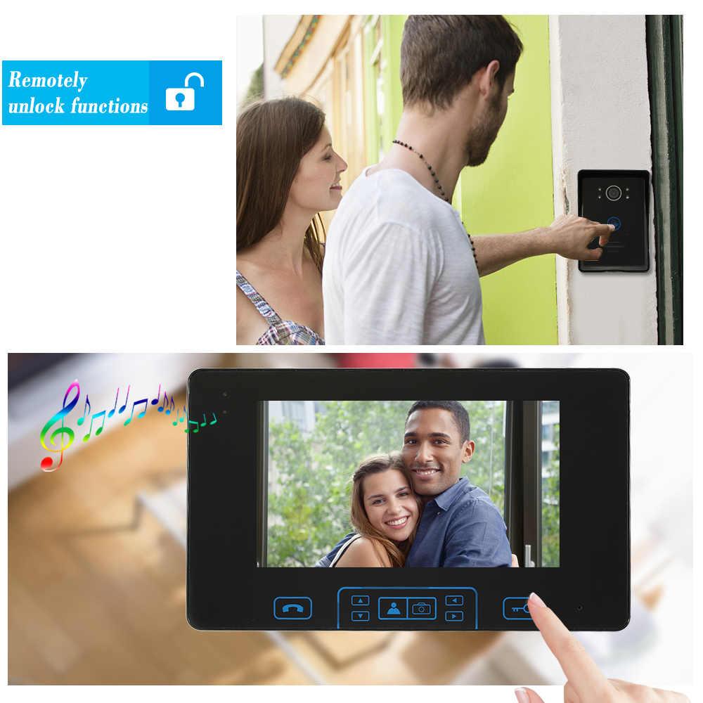 HomeEye 2.4 2.4ghz ワイヤレスビデオドア電話インターホン無線アクセス制御システムドアベル内蔵バッテリー 7 ''Touch キー画面