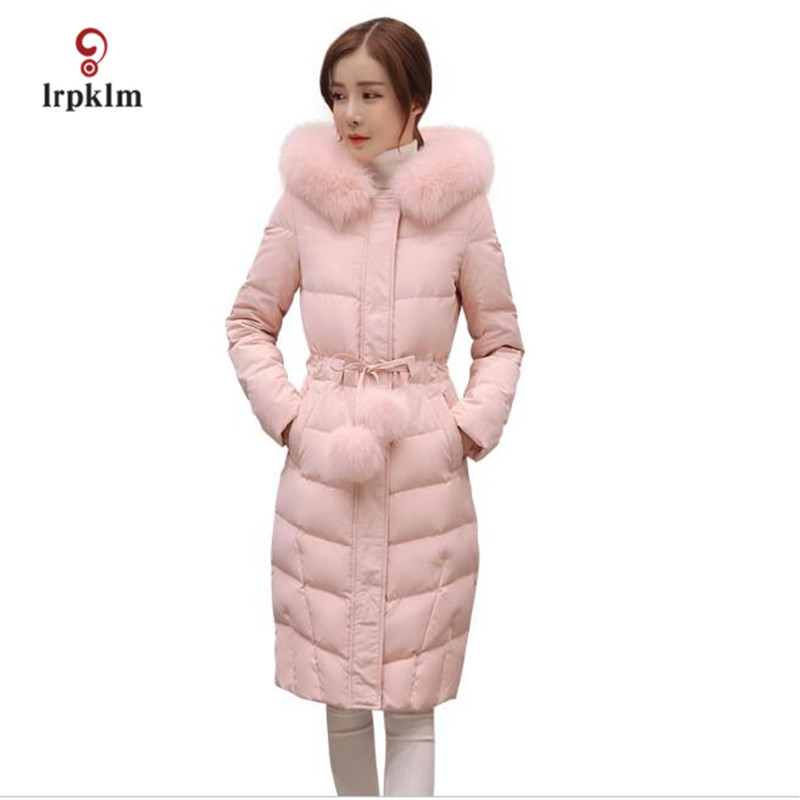 2017 New Female Long Winter Parkas Women Fur Collar Hooded Cotton Padded Coat Fashion Slim Tunic Outerwear Pink Pale Green PQ009 2017 winter new clothes to overcome the coat of women in the long reed rabbit hair fur fur coat fox raccoon fur collar