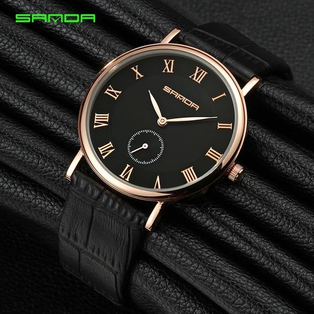 b63d8954e3e 7mm Ultra Fino Relógio De Negócios Homens Relógios Pulseira de Couro  Vestido de Relógio Masculino Super