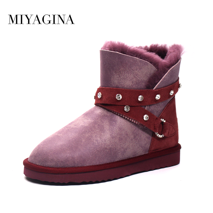 Top Quality Fashion Women Genuine Sheepskin Leather Snow Boots Natural Fur Botas Mujer Winter 100% Real Wool Ankle Shoes