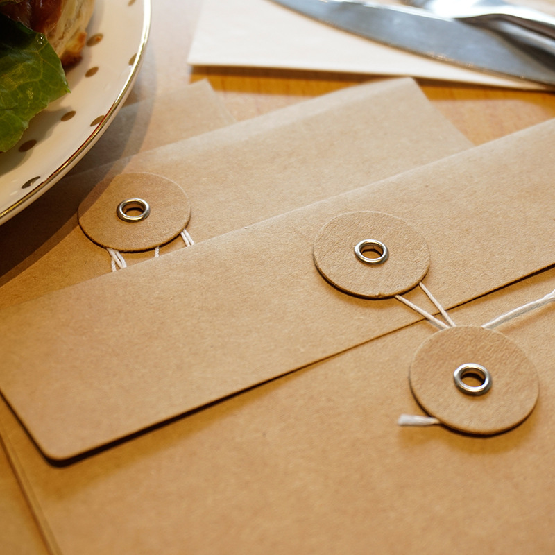 Image 4 - 50pieces/set of vintage buckled kraft paper blank paper window envelope wedding invitation envelope/gift envelope/thick postcard-in Paper Envelopes from Office & School Supplies
