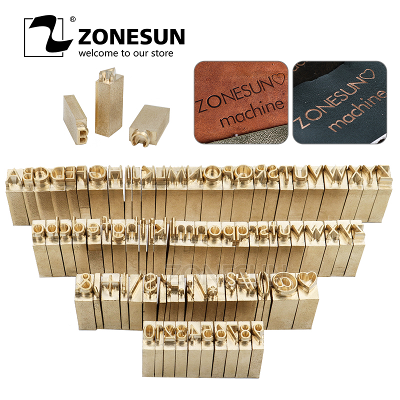 ZONESUN Custom brass Leather stamp DIY Metal Alphabet Letters numbers symbol Stamps for stamping Craving Tool