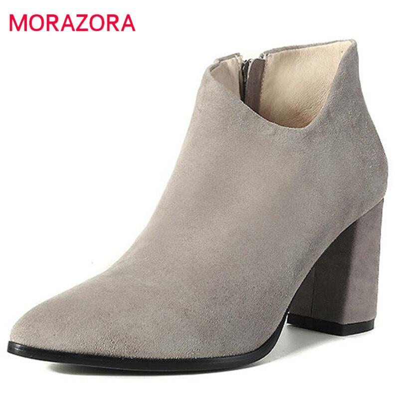 2d3ee8144c79c4 gris Noir Bout Confortable Mode Bottes Femmes De Talon Pointu Cheville  Nouveau Size34 Morazora 2018 camel ...